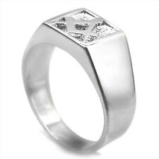 Mans Solid Silver Masonic (Free Mason) Signet Ring - Finger Size P to W