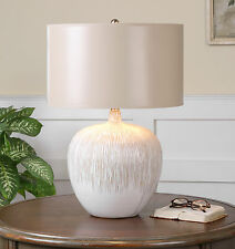 "23"" AGED TEXTURED IVORY FIRE GLAZED CERAMIC TABLE LAMP TAN ACCENTS READING LIGHT"