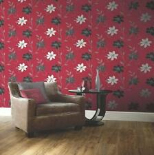 NEW LUCIANA FLOWER FLORAL LEAF PATTERN MOTIF RED BLACK METALLIC WALLPAPER 417106