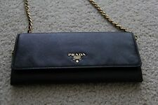 Prada Saffiano Wallet on a Chain Crossbody Bag, Black, with Authentication Card
