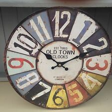 Pretty Shabby Vintage Chic Style Multi Coloured OLD TOWN Wooden Wall Clock