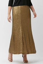 PRETTY LANE BRYANT PLUS SIZE GOLD W/ ELASTIC WAIST SEQUIN LINED MAXI SKIRT Sz 20