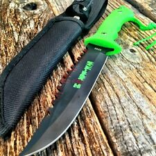 """9"""" Zombie-War Full Tang Hunting Knife Green Handle - Gut Hook NEW 8268"""
