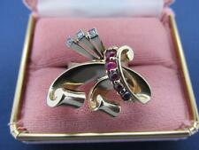 Vintage Retro 14k Solid Yellow Gold Ruby And Diamond Ring Circa 1950's
