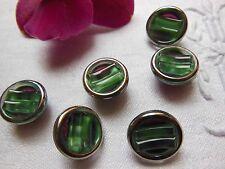 série 6 boutons anciens en verre vintage vert argnté  diamètre :1,3 cm ref 738