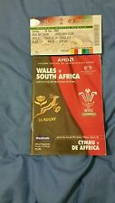 Wales v South Africa rugby programme 2000 with ticket