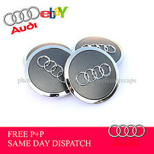 Set of 4 AUDI Alloy Wheel Centre Hub Caps  Face 69mm Clip 55mm Grey 2016! BEST!