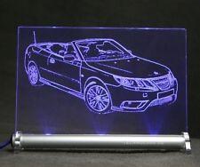 Saab 9-3 cabrio  -als AutoGravur auf LED Leuchtschild