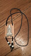 vintage handmade wooden Space Shuttle necklace suede cord Black & white beads