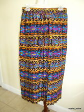 New vintage silk pleats maxi skirt hobo long skirt abstract multicolor prints-8