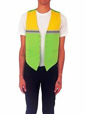 MOSCHINO Dancing Man Vest SIZE 48 IT Vintage 90s Green Yellow Cheap & Chic