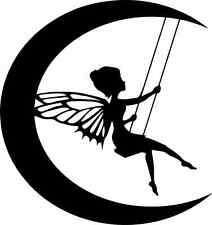 Die Cut Silhouette MOON FAIRY ON SWING topper x  6 for cardmaking, crafts