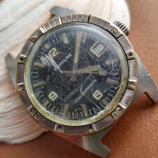 Vintage Neptune Divers Watch w/Engine Turned Bezel,Warm Patina,All SS Case