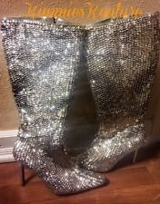 •HOT• WOMENS COLIN STUART SEQUIN STILETTO BOOTS -SZ.6 EXC.COND. BLING