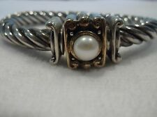 BEAUTIFUL STERLING SILVER ITALIAN BANGLE W/ 18K YELLOW GOLD & A GENUINE PEARL
