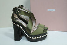 New Miu Miu / Prada Green Satin Crystal Wood Platform Sandal Shoes sz 8 / 38