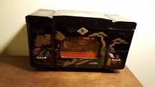 Vintage JAPANESE  BLACK LACQUER JEWELRY Music BOX w MOVING RICKSHAW  TOYO