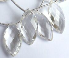 Natural Clear Rock Crystal Faceted Marquise Shaped Briolette Beads