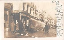 1906 RPPC Stores Firemen Fighting Fire Westerly RI