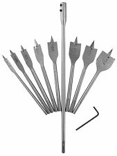 10pc Flat Spade Wood Hole Saw Drill Bits 6 10 13 16 19 22 25 32mm + extension