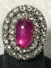 Antique Victorian 14K WhIte & Yellow Gold Natural Star Ruby & Diamond Ring