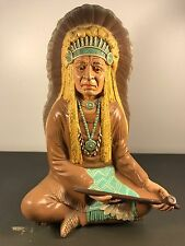 VINTAGE BYRON MOLDS INDIAN CHIEF NATIVE AMERICAN PEACE PIPE CERAMIC STATUE 12.5""