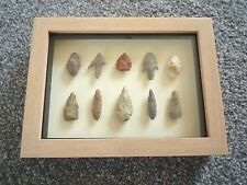 Neolithic Arrowheads in 3D Picture Frame, Authentic Artifacts 4000BC (0783)