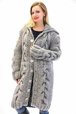 GREY Hand Knitted Mohair Wool Sweater Cardigan Thick Chunky Coat by SUPERTANYA