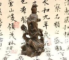 """9.5""""Tibet Buddhism Pure Bronze Kwan-yin Boddhisattva Ride Dragon Buddha Statue"""