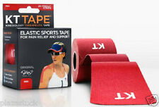 KT Tape Original Cotton Kinesiology Tape - 1 Roll of 20 Precut Strips - Red