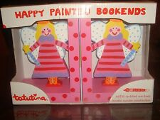 ALL WOOD HAND PAINTED FAIRY BOOKENDS  by TATUTINA ~ NIB