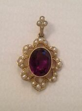 Attractive Murrle Bennett 18ct / 9ct Gold Natural Amethyst & Seed Pearl Pendant
