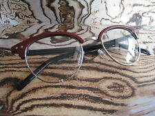 50s Red Clubmaster Retro Vintage nerd Geek clear lens fashion Glasses frames