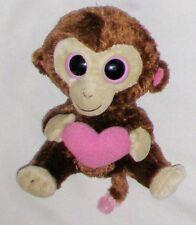 """Plush Brown TY Casanova 6"""" Monkey w Big Eyes Toy w Pink Heart"""