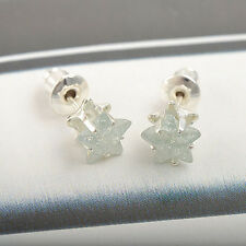 white Gold Plated Womens mens Silver star flower green crystal stud Earrings