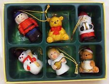 Toy Soldier Bear Santa Angel Snowman Miniature Mini Christmas Ornament Set Lot