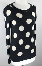 THML Sz S Black Beige Polka Dot Lightweight Cotton Sweater SS1-21