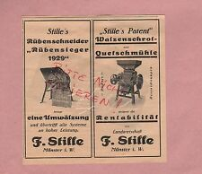 MÜNSTER, Werbung 1929, F. Stille Rübenschneider Quetschmühle