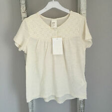 BNWT Baby Girl H&M T-Shirt Size 18-24 Months White Lace Embroidered Cream New