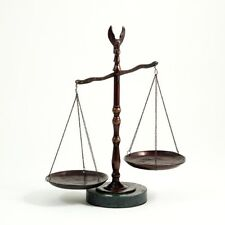 Bronzed Legal Lawyer Scales Of Justice With Eagle Finial & Marble Base-12.5In.Ht