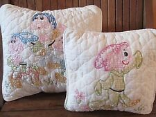 Two VTG Snow White 7 Dwarfs Cross Stitch Pillows Embroidered Handmade Quilted