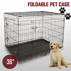 "36"" Pet Dog Cage Collapsible Metal Crate Kennel Portable Puppy Cat Rabbit House"