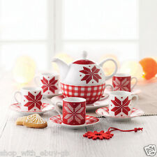 Christmas Espresso 6 Cup & Saucer 12 Piece Set - Nordic Xmas Style with Gift Box