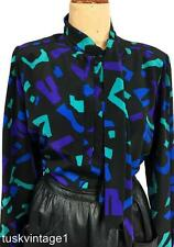 VINTAGE 80s BLACK purple green blue ABSTRACT PUSSY BOW secretary blouse 10 12 14