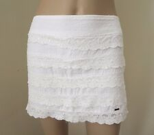 NEW Hollister Womens White Lace Mini Skirt Size XS Ruffles Shine Fitted
