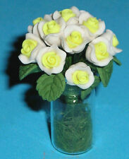 Doll House Flowers - 1/12 Scale - White Roses in Vase