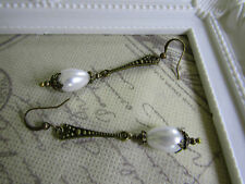VINTAGE STYLE DANGLE PEARL DROP EARRINGS  Art Deco Nouveau