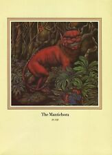 """Una Woodruff. """"Mantichora"""", Red Lions with Face of a Man. 1979 Fantasy Print."""