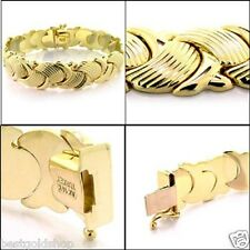 "7.25""  17.3gr Stampato Mushroom  BRACELET w/ Box Clasp REAL 14K YELLOW GOLD"