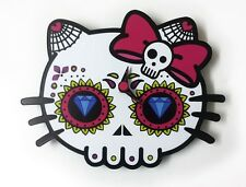 Mini Day of the Dead Sugar Skull - Dead Kitty Silhouette - Wall Clock